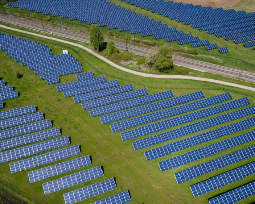Birdseye view of solar farm