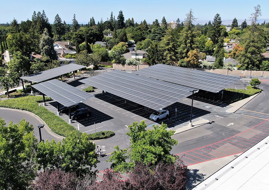 aerial view of solar installation for schools