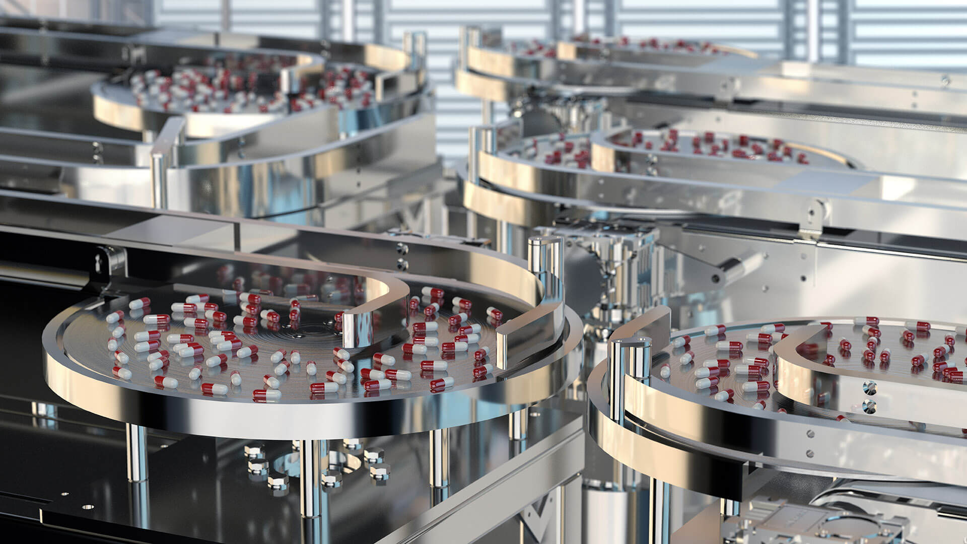 pills on conveyor belt